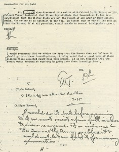 a memo - FBI - hoover handwriting - good above